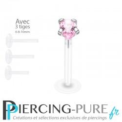 Piercing Labret Poire rose griffée 3 tailles