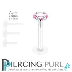 Piercing Labret Ovale rose griffée 3 tailles