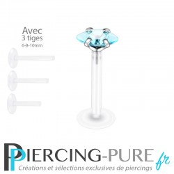 Piercing Labret Marquise turquoise griffée 3 tailles