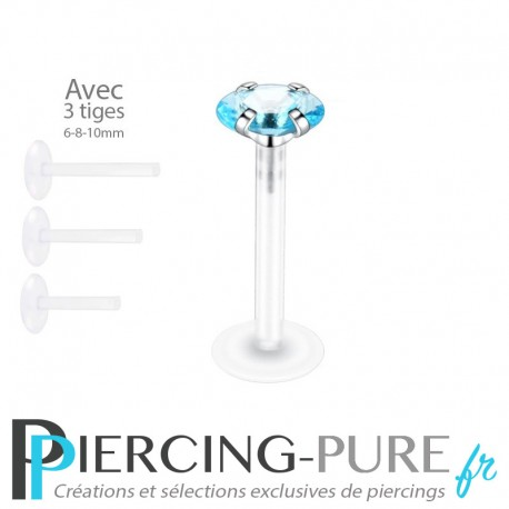 Piercing Labret Ovale turquoise griffée 3 tailles