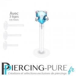 Piercing Labret Poire turquoise griffée 3 tailles