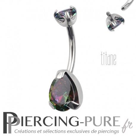 Piercing nombril Titane Poire Vitrail Medium
