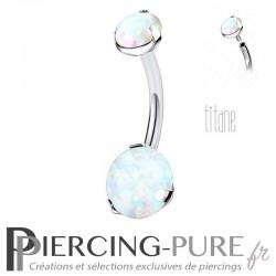 Piercing nombril Titane Opales blanches Rondes Griffées