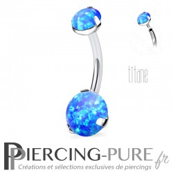 Piercing nombril Titane Opales bleues Rondes Griffées
