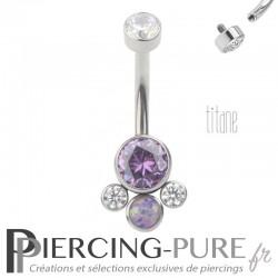 Piercing nombril Titane 5 disques sertis Opale et cristaux