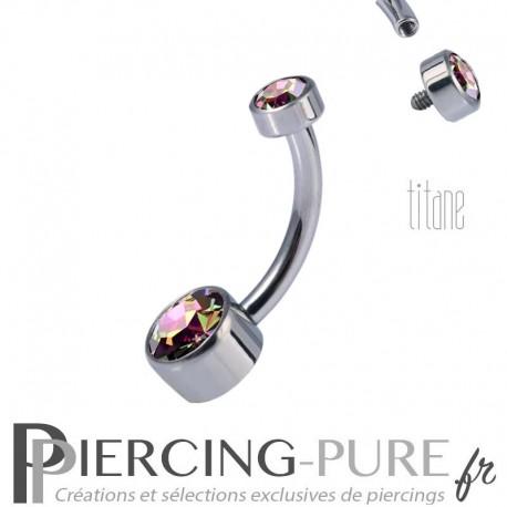 Piercing nombril Titane Disques de cristaux de Swarovski Crystal Vitrail Medium