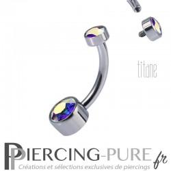 Piercing nombril Titane Disques de cristaux Aurore Boréale