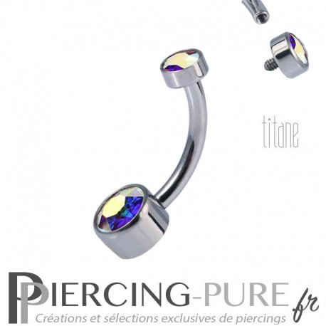 Piercing nombril Titane Disques de cristaux de Swarovski Crystal Aurore Boréale