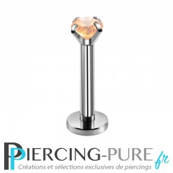 Piercing Labret cristal orange clair griffé 3mm