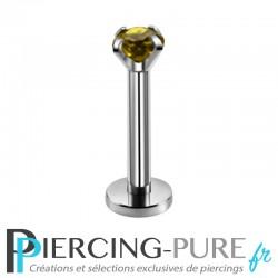 Piercing Labret cristal olive griffé 3mm
