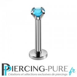 Piercing Labret cristal turquoise griffé 3mm