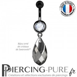 Piercing Nombril Blackline Poire Black Diamond Light Chrome