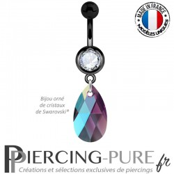 Piercing Nombril Blackline Blanc Poire Crystal Amethyst Shimmer 16mm