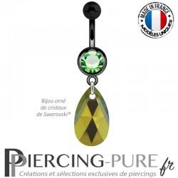 Piercing Nombril Blackline vert Poire Crystal Iridescent Green 16mm