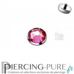 Microdermal Titane 5mm pierre rose