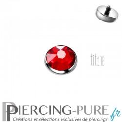 Microdermal Titane 5mm pierre rouge