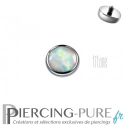 Microdermal Titane 5mm opale blanche