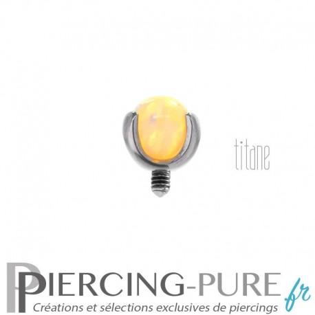 Microdermal Titane Bille Opale jaune fluo griffée 3mm