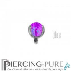 Microdermal Titane Bille Opale violette griffée 3mm
