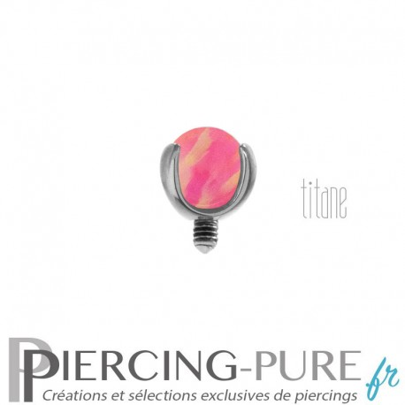 Microdermal Titane Bille Opale rose griffée 3mm