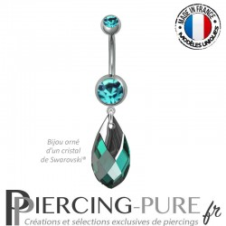 Piercing Nombril Poire Emarld Light Chrome