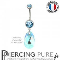 Piercing Nombril Acier Poire Crystal Aquamarine Blue AB