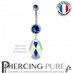 Piercing Nombril Acier Poire Crystal Capri Blue AB