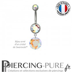 Piercing Nombril Acier Classic Cut Crystal AB