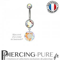 Piercing Nombril Acier Classic Cut Crystal AB