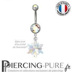 Piercing Nombril Acier Edelweiss Crystal Shimmer AB