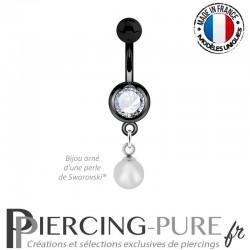 Piercing Nombril Blackline et perle Cristal Gris tourterelle irisé pendante