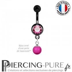 Piercing Nombril Blackline et perle Cristal Rose Néon pendante