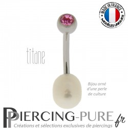 Piercing Nombril Perle de culture blanche et Titane - cristal rose