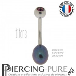 Piercing Nombril Perle de culture Prussian Blue et Titane - cristal violet