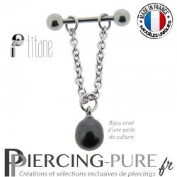 Piercing Téton Titane chainette et Perle de culture noire