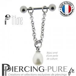 Piercing Téton Titane chainette et Perle de culture blanche