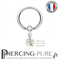 Piercing Anneau Bille clipsée Crystal Silver Patina