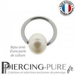 Piercing Anneau Perle de Culture blanche clipsée