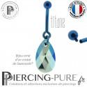 Piercing Nombril Titane interne anodisé Bleu Poire Jet Shimmer