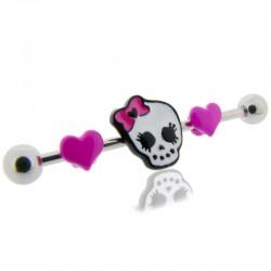 Piercing Industriel kit tête de mort et coeurs roses