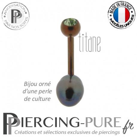 Piercing Nombril Titane Dark Bronze Perle de culture Noire Cristal Vert