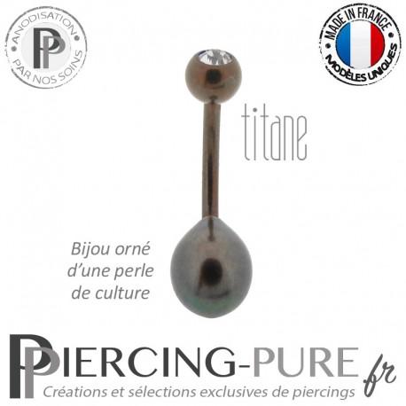 Piercing Nombril Titane Dark Bronze Perle de culture Noire Cristal Blanc