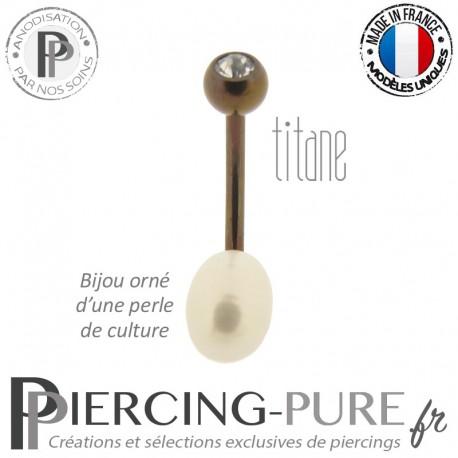 Piercing Nombril Titane Dark Bronze Perle de culture Blanche Cristal Blanc