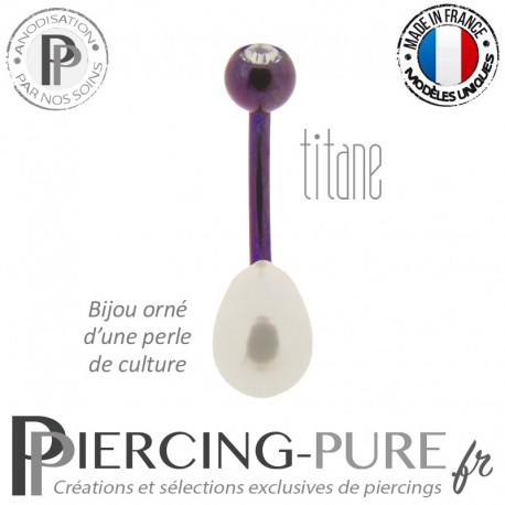 Piercing Nombril Titane Dark Purple Perle de culture Blanche Cristal Blanc
