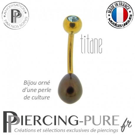 Piercing Nombril Titane doré Perle de culture noire Cristal bleu