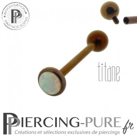 Piercing Langue Titane Dark Bronze Opale blanche 5mm