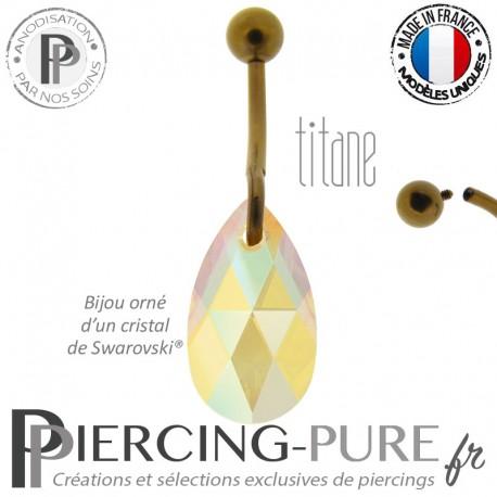 Piercing Nombril Titane interne anodisé Dark Bronze Poire Topaz Shimmer