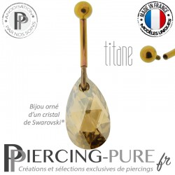 Piercing Nombril Titane interne anodisé Doré rose Poire Golden Shadow