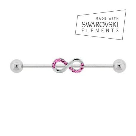 Piercing Industriel kit Infini Cristaux de Swarovski roses