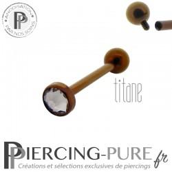 Piercing Langue Titane Dark Bronze Cristal blanc 5mm